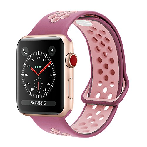 YC YANCH Greatou Compatible for Apple Watch Band 38mm,Soft Silicone Sport Band Replacement Wrist Strap Compatible for iWatch Apple Watch Series 3/2/1,Nike+,Sport,Edition,S/M,Violetdust Plumfog