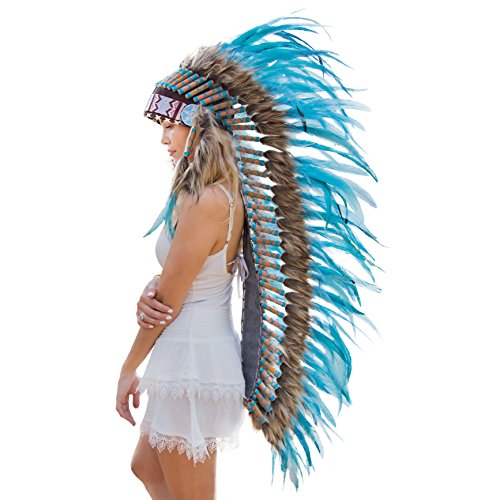 Novum Crafts Feather Headdress | Native American Indian Inspired | Turquoise (Halloween Costumes International Shipping)