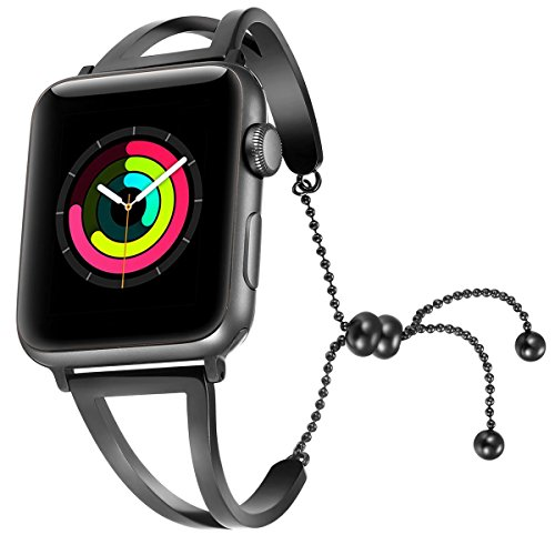 atible for Apple Watch Band 38mm 42mm, 2018 Dressy Fancy Jewelry Bangle Cuff for Iwatch Bands Series 4 3 2 1 Women Girls Adjustable Stainless Steel Pendant (Black-38mm 40mm) ()