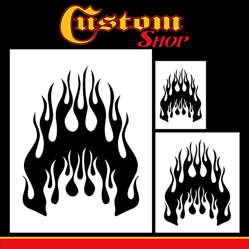 Custom Shop Airbrush Flame Licks Stencil Set (Flame Licks Design #1 in 3 Scale Sizes) - Laser Cut Reusable Templates - Auto, Motorcycle Graphic Art Auto Airbrush Stencils