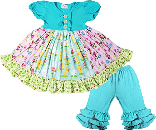 Boutique Baby Girls Easter Bunny Happy Spring Flowers Dress Capris 2pc Set Aqua 12-18M/2XS