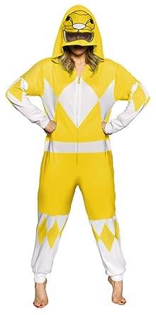 Power Rangers Yellow Ranger Adult One Piece Pajama Union Suit (Medium)