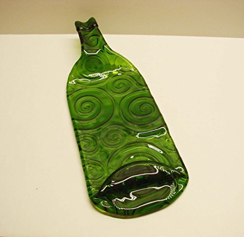 UpCycled Moss Green Swirl Textured Wine Bottle Recycled Cheese Tray or Cutting Board
