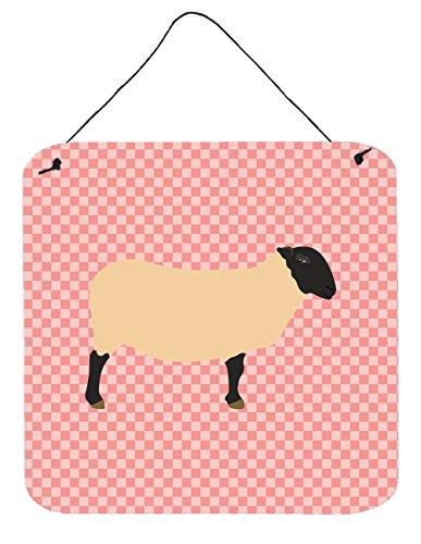 Caroline's Treasures Suffolk Sheep Pink Check Metal Print, 6