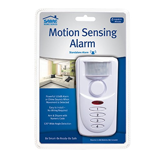SABRE Wireless Motion Sensor Home Security Burglar Alarm with LOUD 120 dB Siren and 120 Degree Wide Angle Detection - DIY EASY Installation (Alarm Set)
