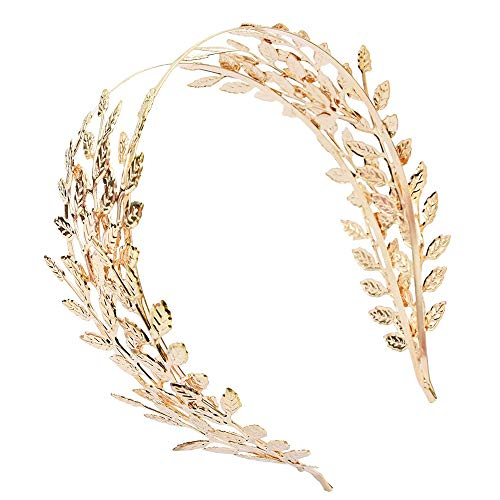 Aegenacess Gold Leaf Wedding Headband Greek Goddess Branch Roman Dainty Hair Crown Head Dress Boho Accessories for Bride Costumes -