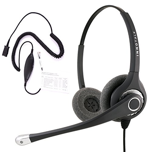 RJ9 Headset - Sound Forced Professional Binaural Headset + Avaya Cisco Nec Phone Universal Compatible RJ9 cord with Plantronics compatible (Avaya Universal Telephone Accessories)
