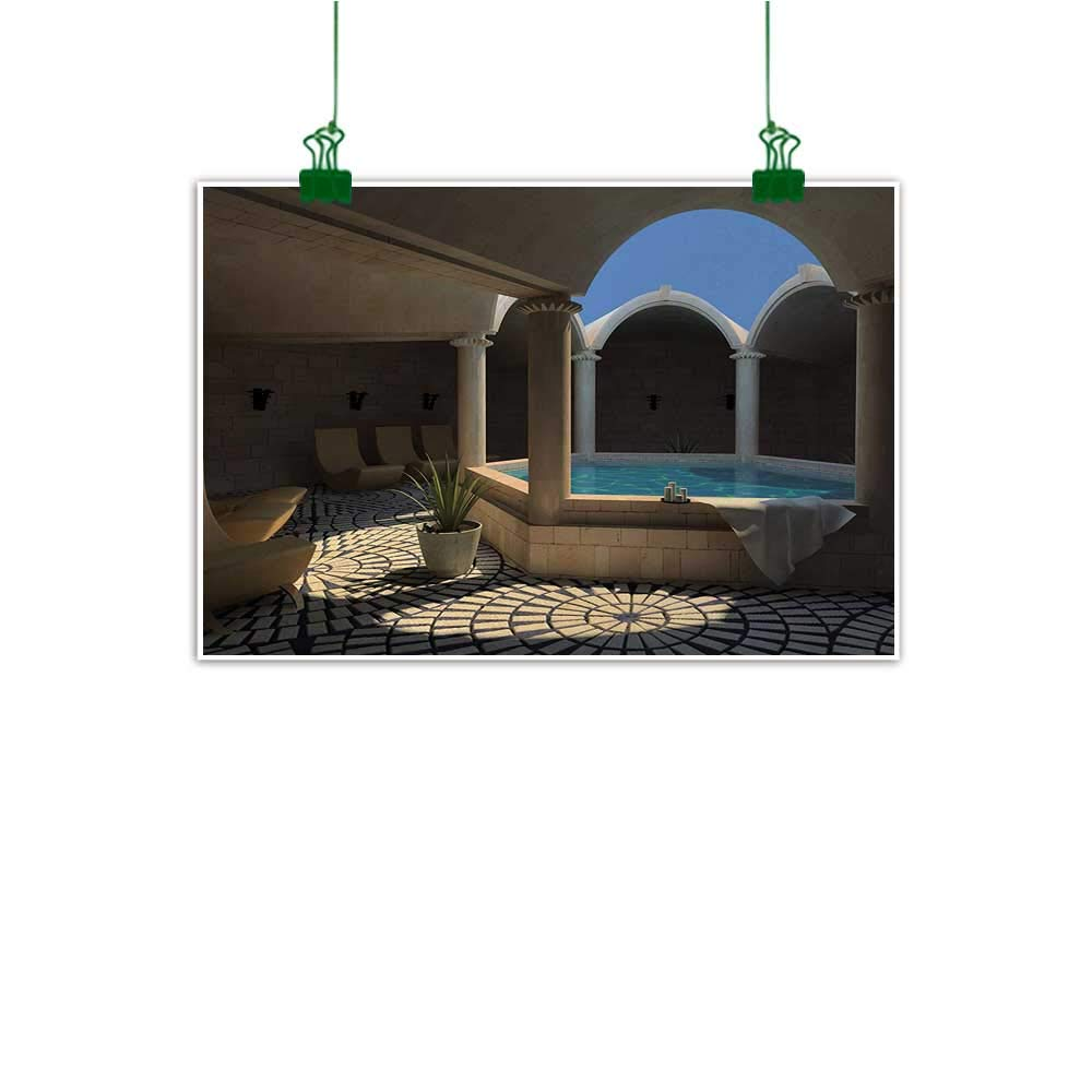 """Unpremoon Landscape Canvas Print Modern Painting Inside View of A Spa Hotel with Bathtub in The Circle Centre Therapy Photo Print Decor Wall Art Canvas Painting Grey Blue W 24"""" x L 16"""""""