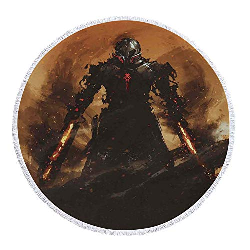 - iPrint Thick Round Beach Towel Blanket,Fantasy World,Robot Warrior Terminator at War Fire Sword Weapon Paint Style Futuristic,Tan and Black,Multi-Purpose Beach Throw