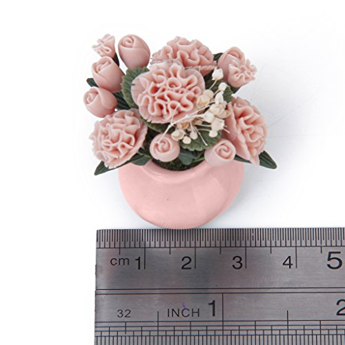 (Jili Online 1/12 Dollhouse Miniature Garden Ornament Clay Flower Pink Carnation with Jar)