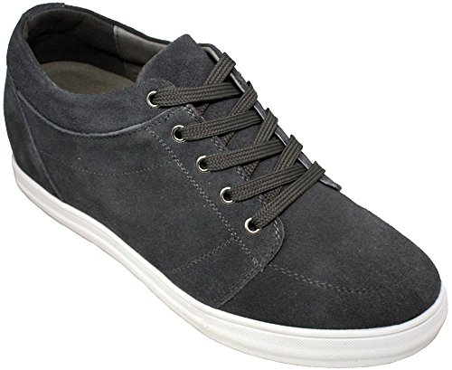 CALDEN Men Suede 2.6 Inches Casual Shoes Charcoal Grey