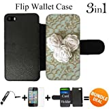 White Flower Rope Roses Custom iPhone 5 Wallet Cases/5S Wallet Cases,Bundle 3in1 Comes with Screen Protector/Universal Stylus Pen by innosub