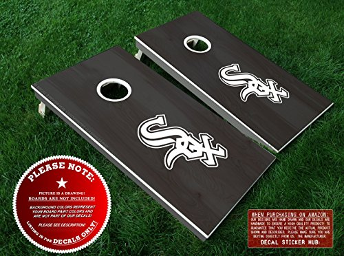 Chicago White Sox Cornhole Decals | 4PC DIY Decal Stickers | Vinyl Decals For Bean Bag Toss Cornhole Board Building and Decorating
