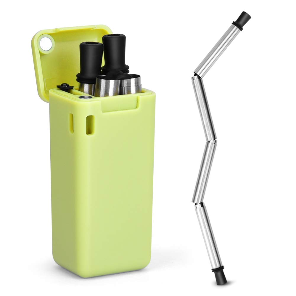 Collapsible Straw Reusable Stainless Steel, Folding Drinking Straws Keychain Foldable Final Premium Food-grade Portable Set with Hard Case Holder Cleaning Brush for Travel, Household, Outdoor-Green