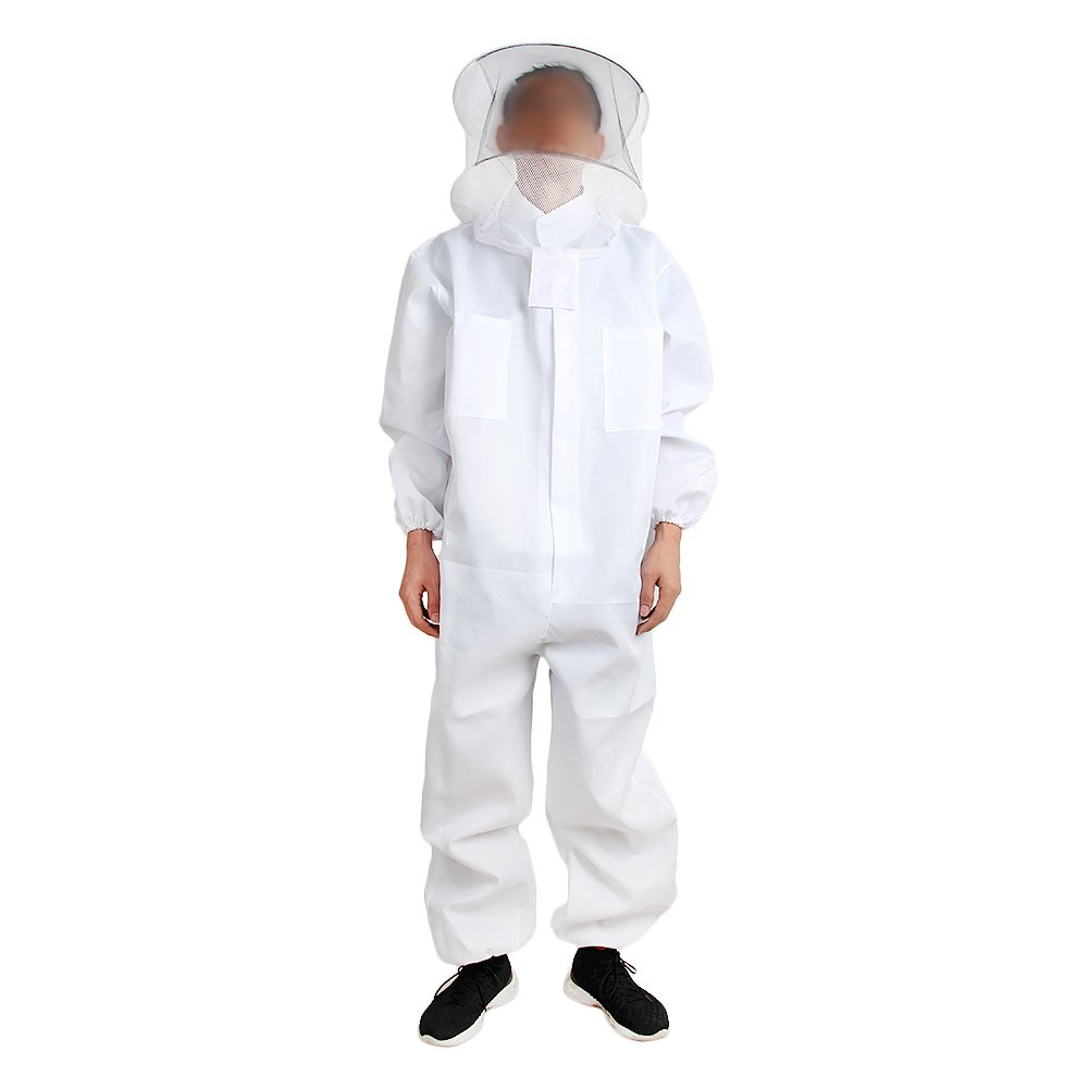 Newsmarts Cotton Beekeepers Smock, Full Body Suit Veil for Professional & Beginning Beekeepers -Size XXL
