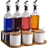 厨房收纳七件套组合 玻璃油瓶组合套装 家用油盐酱醋壶厨房陶瓷调味瓶罐调料盒辣椒盐罐