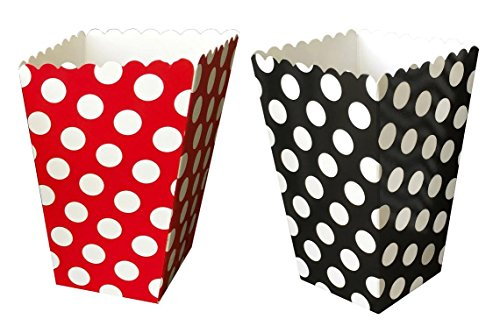 Outside the Box Papers Ladybug Theme Popcorn Boxes - Polka Dot Pattern- 24 Pack Red, (Ladybug Birthday Theme)