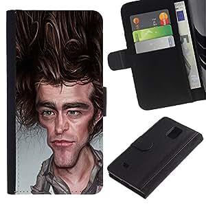 KingStore / Leather Etui en cuir / Samsung Galaxy Note 4 IV / Joey Caricature acteur de télévision