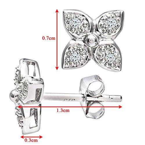 Revoni Bague en or blanc 9carats-Mesdames Diamant Fleur Mesdames Boucles d'oreilles