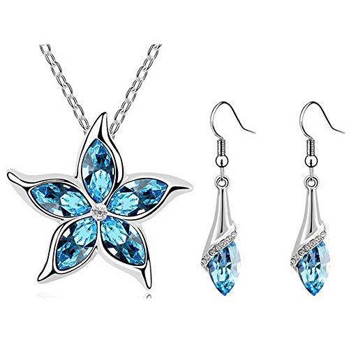 HSG Hot Sell Five Leaves Flower Jewelry Set Women Ocean Blue Star Necklace Earrings JM2162