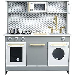 Teamson Kids Little Chef Birmingham Modern Play Kitchen, Grey/ White