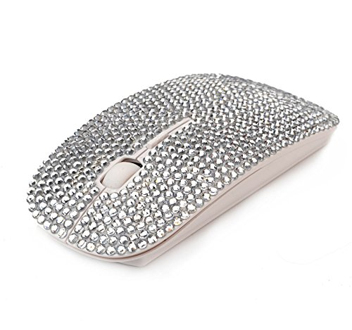 Silver Luxury Crystal Diamond Rhinestone Bling USB Slimline Flat Computer Laptop Mouse USB Nano Receiver for Notebook, PC, MacBook ()