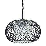Edvivi 3-Lights Antique Black Round Drum Shade Crystal Chandelier Ceiling Fixture | Contemporary Lighting For Sale