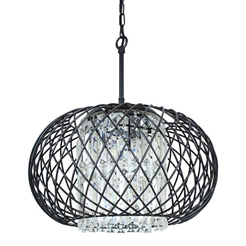 Edvivi 3-Lights Antique Black Round Drum Shade Crystal Chandelier Ceiling Fixture Contemporary Lighting