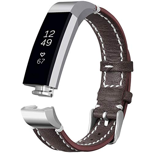 iHillon Compatible with Fitbit Alta (HR)/ Fitbit Ace Bands, Classic Soft Genuine Leather Strap Compatible with Fitbit Alta/Alta Hr/Fitbit Ace Women Men Wristband, Dark Brown