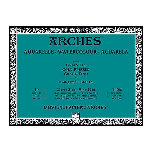 Arches Block 300Lb Cold Press 10X14 10/Sheets by Canson