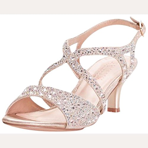 David's Bridal Strappy Heels with Iridescent Gems Style BERK183, Nude Metallic, 9 ()