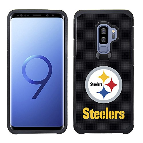 Pittsburgh Steelers Case (Prime Brands Group Textured Team Color Cell Phone Case for Samsung Galaxy S9 Plus - NFL Licensed Pittsburgh Steelers)