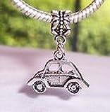 Beads Hut - Volkswagen Bug Automobile Car Dangle Bead fits Silver European Charm Bracelets