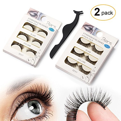 SEILANC False Eyelashes 6 Pairs in 2 Different Styles with 1 Tweezer, Reusable Natural Looking Handmade Fake Lashes