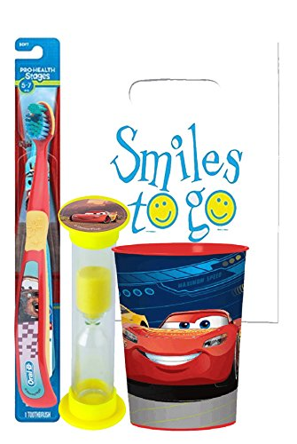 Disney Pixar Cars Bright Smile Oral Hygiene Bundle! Soft Manual Toothbrush, Brushing Timer & Mouthwash Rise Cup! Plus Dental Gift Bag & Tooth Saver Necklace!