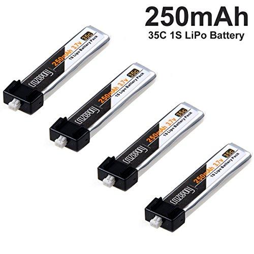 Crazepony 4pcs 250mAh 1S 3.7V 35C Blade Inductrix Lipo Battery