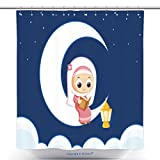 vanfan-Cool Shower Curtains Muslim Girl Reading Quran Happy Ramadan Polyester Bathroom Shower Curtain Set With Hooks(70 x 84 inches)