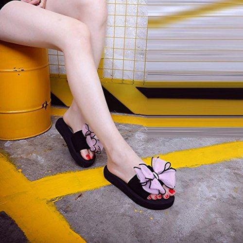 Mujer Sandalias Cómodo y ASHOP Cordones de Las Rosa Y Moda Elegante De Bowknot Bohemia Chanclas Playa Verano de Zapatos Zapatillas Libre al Cuero Aire Bailarinas Indoor Sandalias Planas 5SddqwR