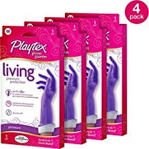 Playtex Living Reuseable Rubber Cleaning Gloves (Medium, Pack - 4)