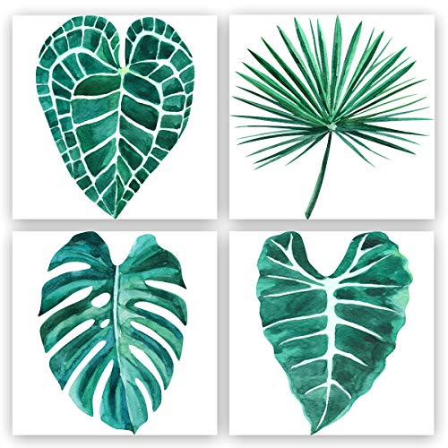 Painting Set Art Print (4 piece Green Leaf Canvas Wall Art Decor Tropical Plants Simple Life Picture Home Artwork, Tropical art Minimalist Watercolor Painting Wall Decor for Bathroom Living Room Bedroom kitchen Canvas Prints)