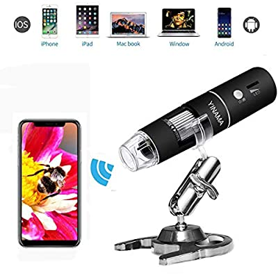 Wireless Digital Microscope, 50x to 1000x Magnification Endoscope 8 LED Handheld Microscopes with Phone Suction,Compatible with Windows, Mac Computer iPhone/iPad/Android Phone
