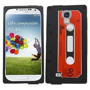 Samrick - Carcasa para Samsung i9500 Galaxy S4 IV, i9505 Galaxy S4 IV y i9505G Galaxy S4 Google Play Edition (silicona, incluye protector de pantalla y gamuza de microfibra), diseño de cassette, color negro