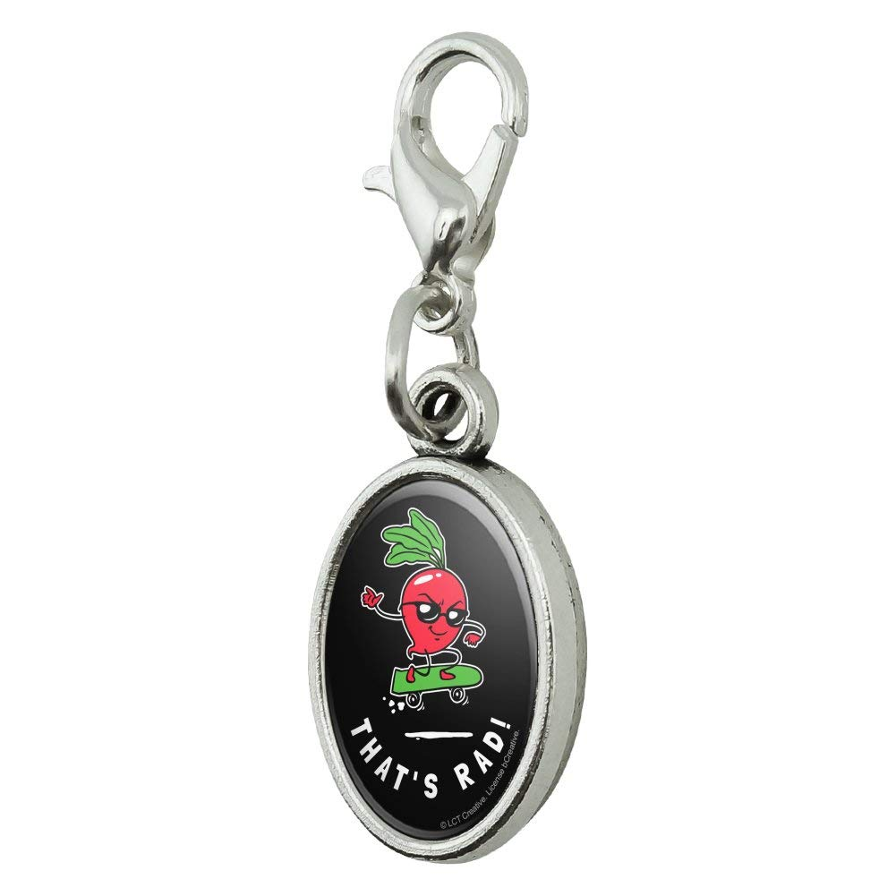 GRAPHICS /& MORE Thats Rad Radical Radish Skateboard Funny Humor Antiqued Bracelet Pendant Zipper Pull Oval Charm with Lobster Clasp