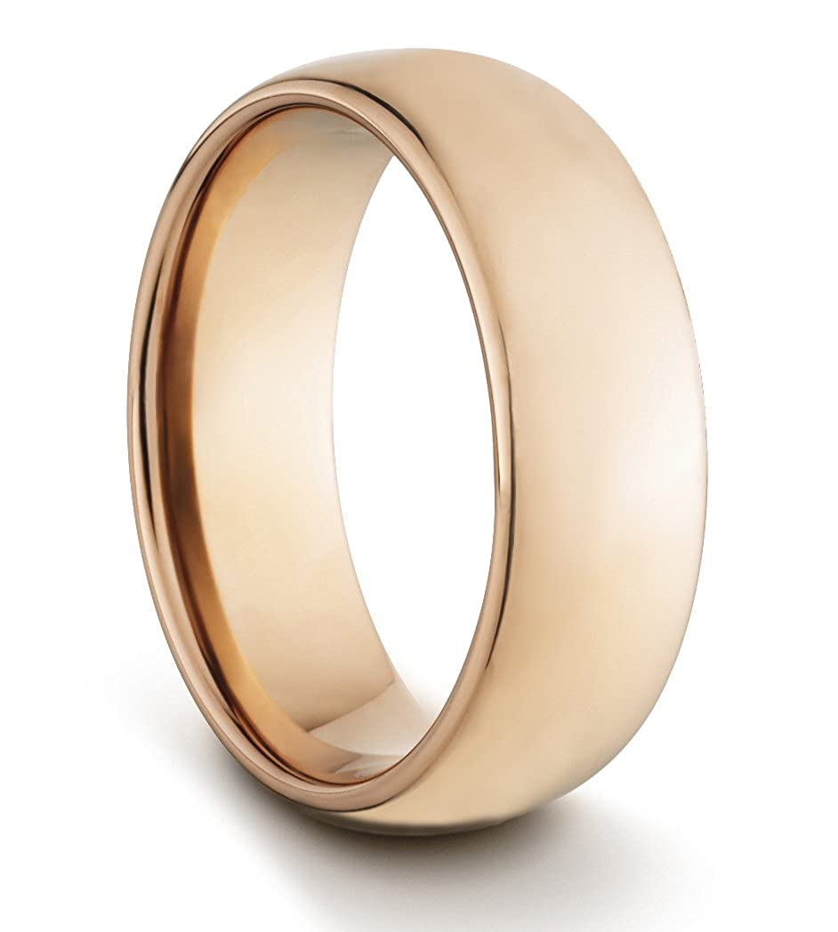 8 mm/carburo de tungsteno para hombre/unisex de mujer de estilo clásico de oro rosa y pulido de ajuste cómodo boda anillo (tamaños disponibles N - Z + 2): ...