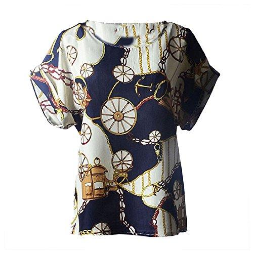 en Femme Imprimer mousseline Blouse Tropical Mode Chemisier Casual Fleur C Tonsee wfX48xw