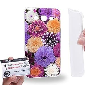 Case88 [Samsung Galaxy E5] Gel TPU Carcasa/Funda & Tarjeta de garantía - Art Design Purple Dahlias Art1399
