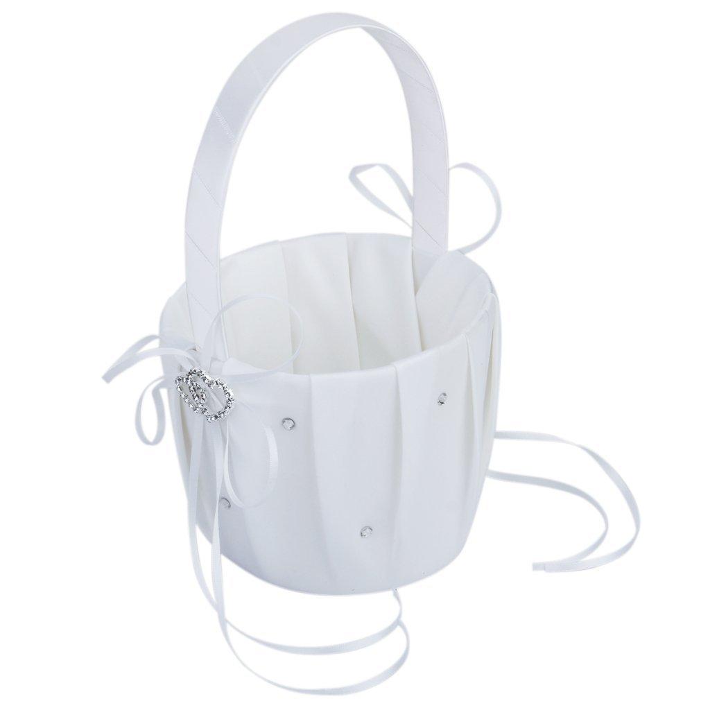 Kcopo Wedding Floral Flower Girl Basket Satin Double Heart Flower Basket Crystal Strass 12.5cm White