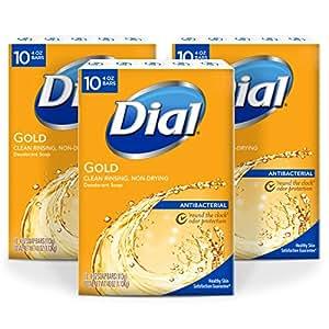 Dial Antibacterial Deodorant Bar Soap, Gold, 4-Ounce Bars, 10 Count (Pack of 3)