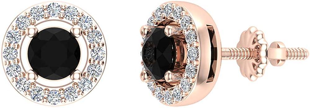 Black Diamond Earrings Halo Stud Earrings for women-men-girls 14K Gold