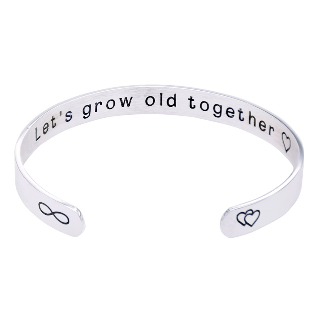 O.RIYA Valentines Day Gifts Jewelry Wife's Gift Let's Grow Old Together, Gift for Her, Valentine's Day Wedding Gift, Custom Cuff Bracelet, Anniversary Gift